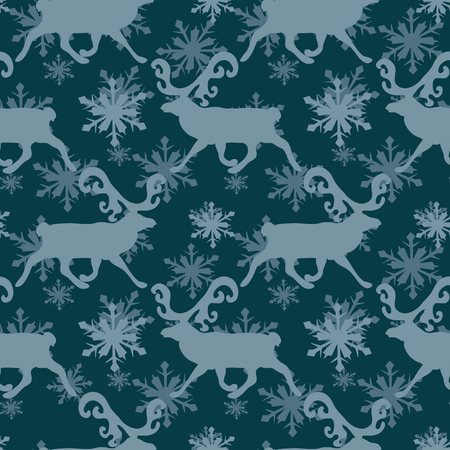 scandinavian christmas: Scandinavian Christmas  seamless Pattern with deers Stock Photo