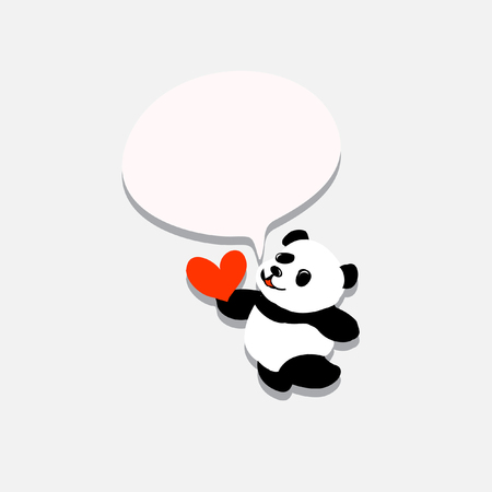 Panda with heart Illustration