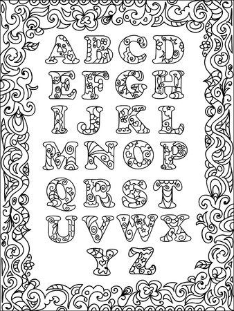 ABC  Zentangle with frame