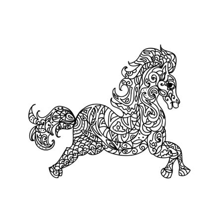 mandala tattoo: Horse zentangle Illustration