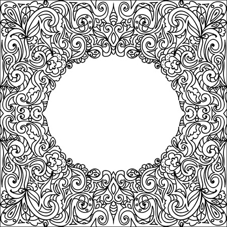 colouring pages: Zentangle Marco oval Vectores