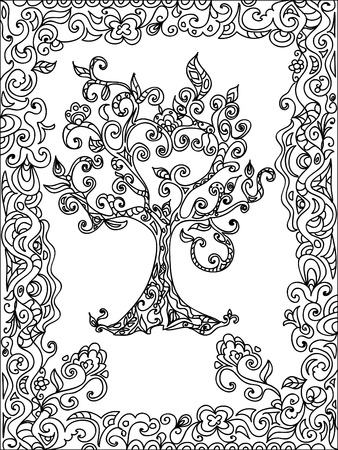 coloring pages: Tree zentangle