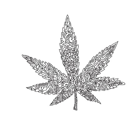 marijuana plant: Cannabis leaf zentangle Illustration
