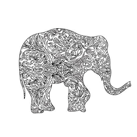 siluetas de elefantes: Elefante zentangle