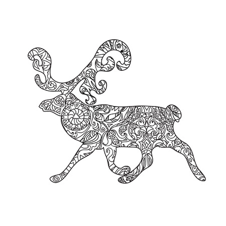 black white: Deer tribal zentangle