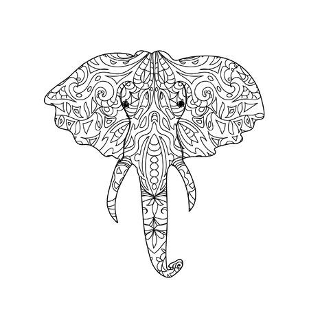 elephant head: Elephant head zentangle Illustration