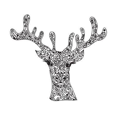 venado: Pista de los ciervos zentangle tribal Vectores