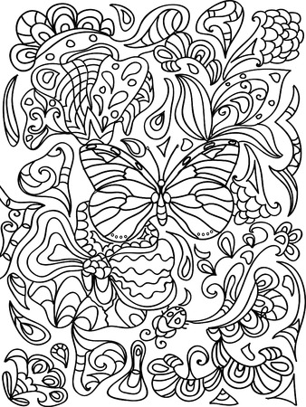 butterfly isolated: Butterfly zentangle