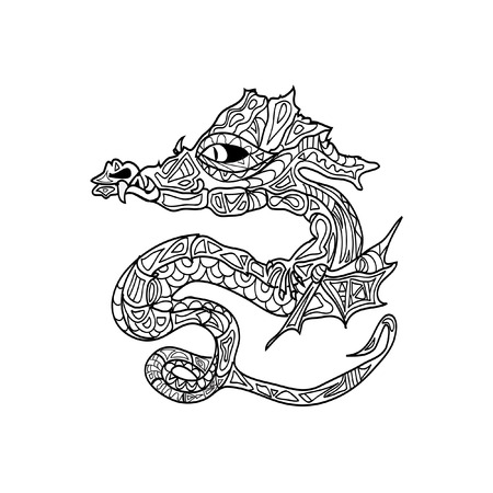 black and white dragon: dragon tattoo coloring zentangle