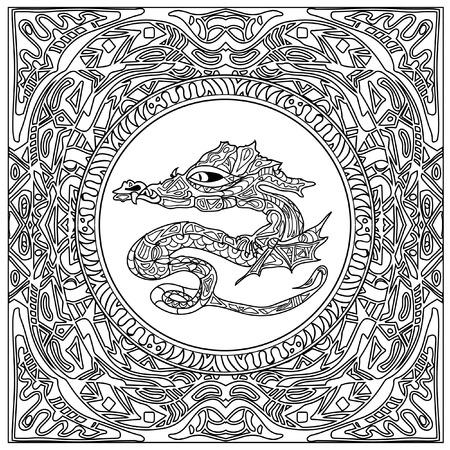 tribal dragon: dragon coloring zentangle