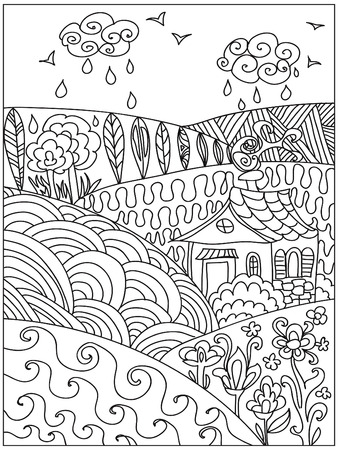 dibujos para colorear: Zentangle Paisaje Foto de archivo