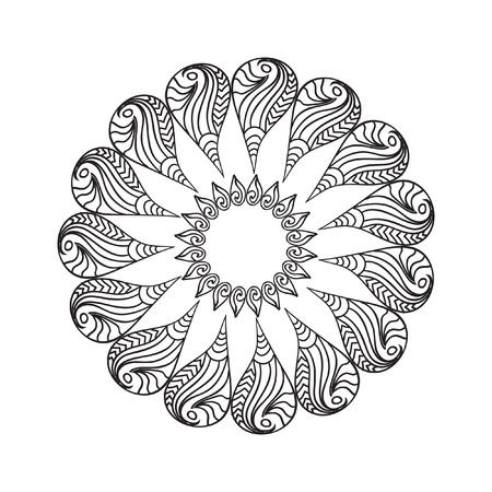 oval frame: Oval Frame mandala coloring page isolated on white