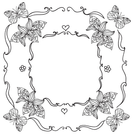 shapes cartoon: Oval Frame mandala coloring page isolated on white