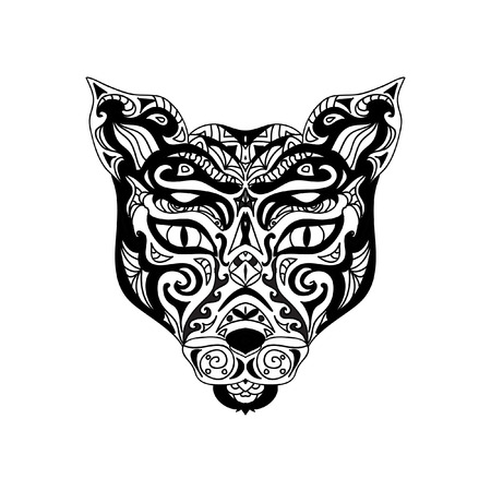 wild cat: Wild cat head zentangle