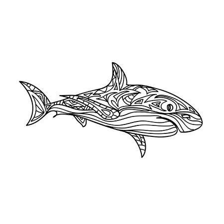 Shark zentangle Illustration