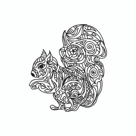black squirrel: Squirrel coloring page Illustration