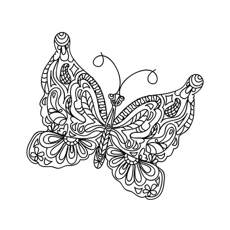 Butterfly coloring page Illustration