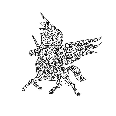 unicorn coloring page royalty free cliparts vectors and stock illustration image 43841608 - Coloring Pages Unicorn Wings