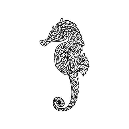 on the black sea: Horsefish seahorse zentangle
