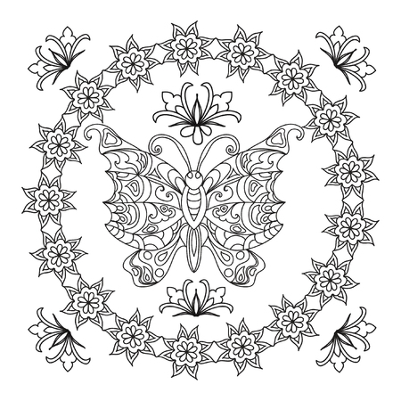 white butterfly: Butterfly Abstract mandala zentangle