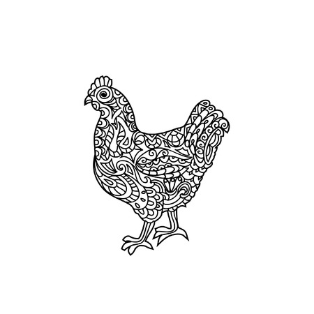 black and white farm animals: Hen zentangle coloring page Illustration