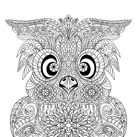 coloring pages to print: Owl Portrait mandala zentangle Illustration
