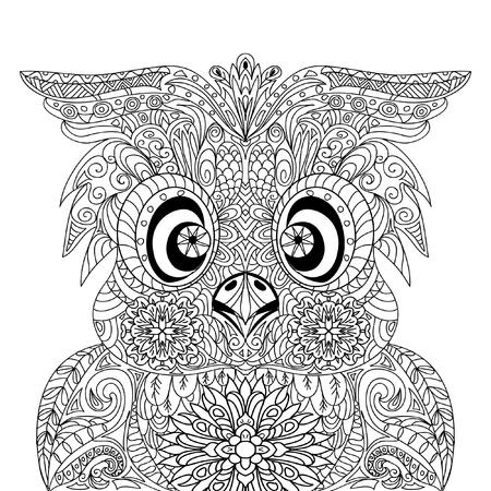 object print: Owl Portrait mandala zentangle Illustration