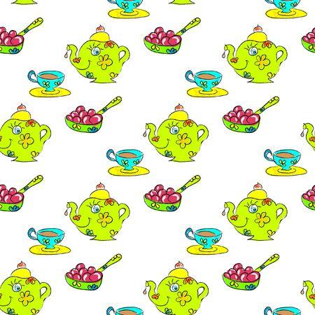 fruit plate: Tea Seamless childish pattern