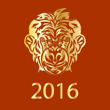 brandweer cartoon: 2016 jaar Fair Monkey symbool golden