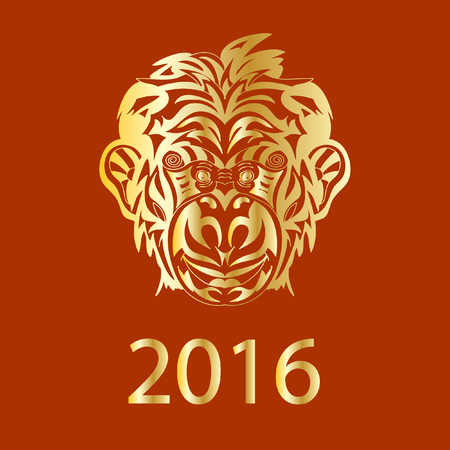 monkey silhouette: Fair Monkey 2016 year symbol golden Illustration