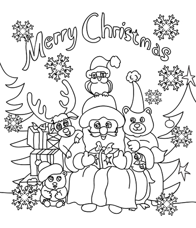 retro cartoon: Christmas coloring greeting card Stock Photo