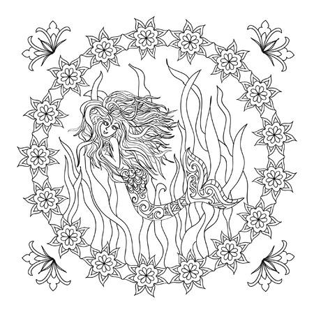 adult mermaid: Mermaid zentangle coloring page