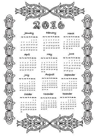calendar page: Calendar 2016 coloring page