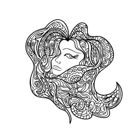 line art: Mujeres Cabeza Mandala abstracta