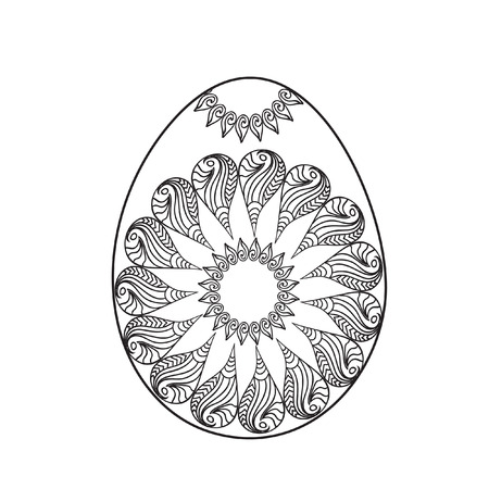 Easter Egg Coloring Page With Sun Symbol Royalty Free Cliparts ...