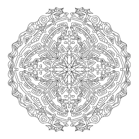 mandala: Aztec mandala coloring page