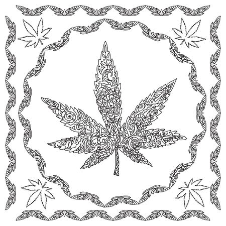 cannabis: Decorative cannabis coloring page Illustration