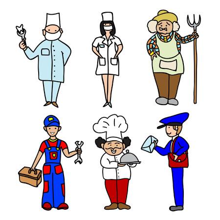 professions: Professions cartoon color icons set