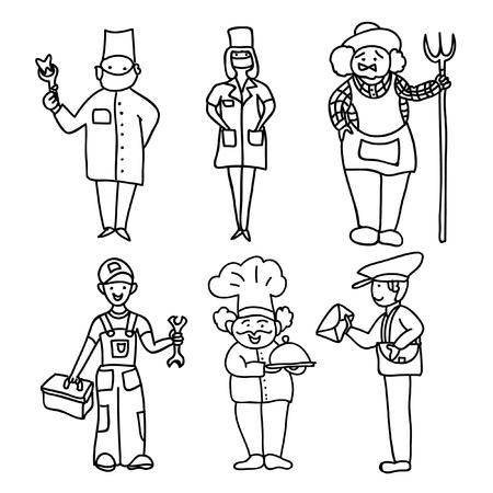 profesiones: Profesiones niños para colorear página Vectores