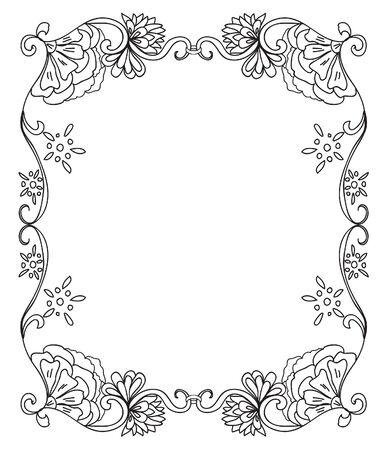 Colorear el marco decorativo floral
