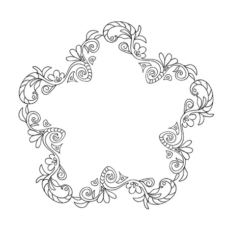 star shaped leaves: Decorative Coloring floral frame Illustration