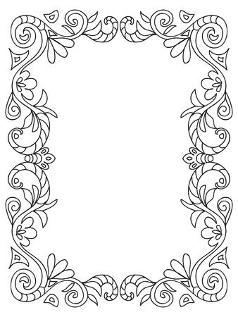 Decorative Coloring floral frame