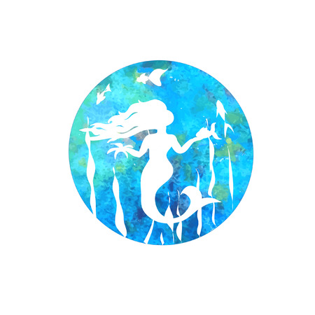 Mermaid silhouette cartoon with fish on watercolor background