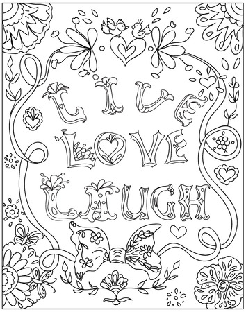 Decorative Coloring poster live love laugh black on white