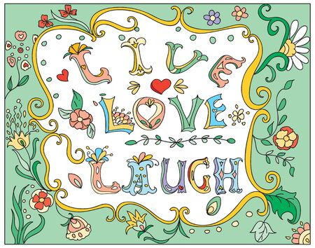 laugh: Decorative multicolor  poster live love laugh Illustration