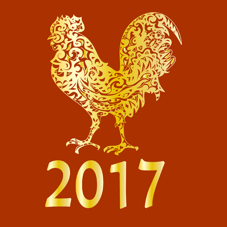 Chinese New Year  2017 astrological symbol  Rooster Stock Photo