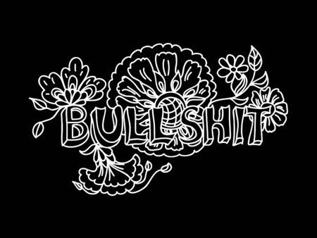bullshit: Decorative Coloring poster bullshit chalk on blackboard