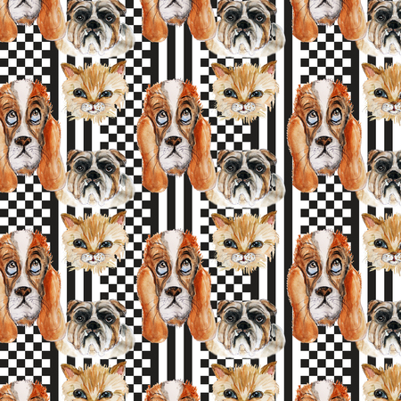 checkerboard: checkerboard  seamless pattern with pets set