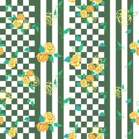 checkerboard: checkerboard  seamless pattern with floral roses ornament