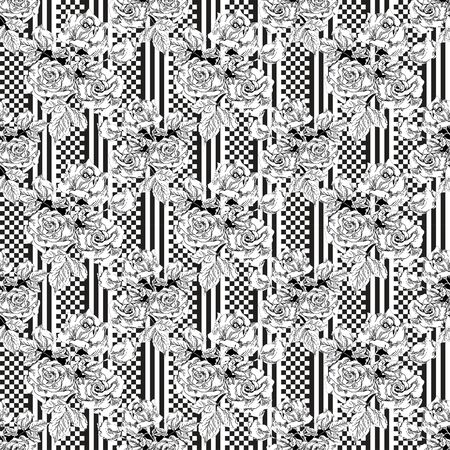 checkerboard: checkerboard  seamless pattern with floral roses monochrome ornament Stock Photo